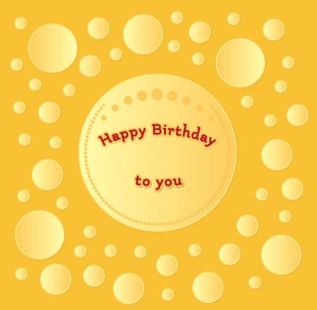 rejoicing: oro carta di felice compleanno con cerchi Vettoriali