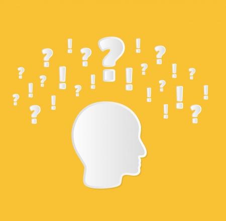 ignorancia: cabeza con signos de interrogaci�n y exclamaci�n como un s�mbolo de la confusi�n o indecisi�n o incertidumbre
