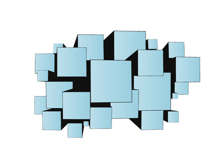 uphill: abstract blue cubes of different size with illusion of three dimensional, different size can represent different priority or value