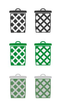 wastepaper basket: six different basket silhouettes - trash can, wastepaper basket or clothes basket
