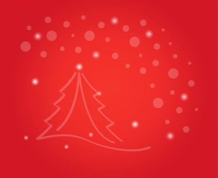 christmas card with tree and shining stars on the red background Vector