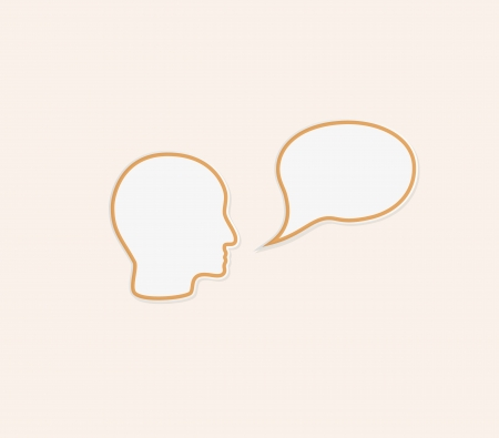 assume: face and empty speak bubble in yellow color
