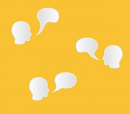 acceptation: face and empty speak bubble in yellow color