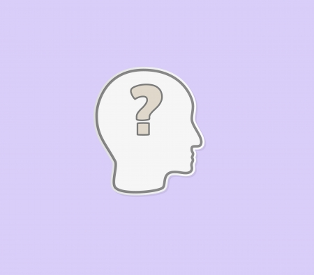 ignorancia: cabeza con signo de interrogaci�n como s�mbolo de hacer la pregunta o de la ignorancia