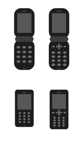 mobil: four silhouette of old classic mobil phones Illustration