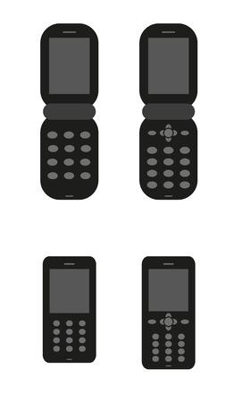 mobil: vier silhouet van de oude klassieke mobil telefoons Stock Illustratie