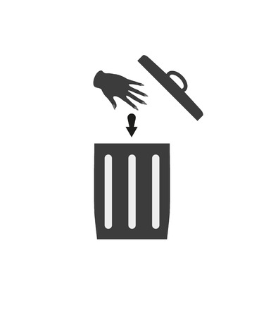 detritus: trash can silhouette and hand  with arrow symbolizing throwing waste