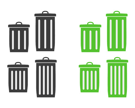 detritus: two different trash cans silhouette in black and green color Illustration