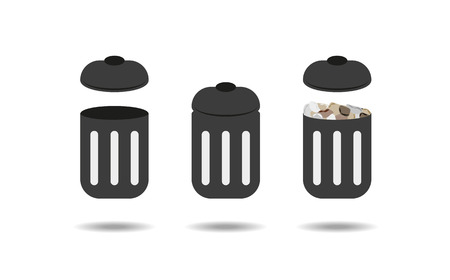trash can: three different trash cans - empty trash can, closed trash can and trash can full of waste Illustration