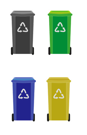 detritus: four waste containers with different color for different waste