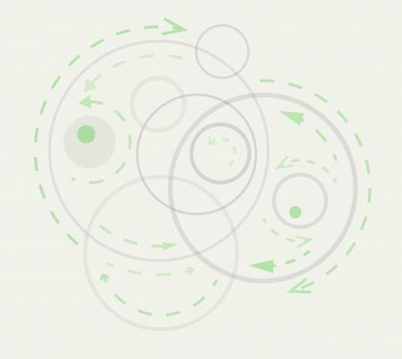 trajectoire: cercles gris avec des fl�ches et des balles verts symbolisant la dynamique Illustration