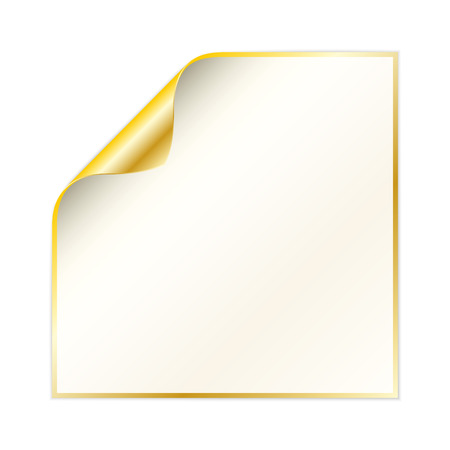 side border: blank white paper with curled corner and yellow gold color on the border and other side