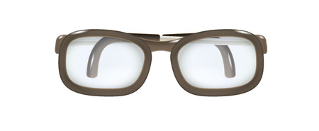 farsighted: brown glasses with folded temples on white background