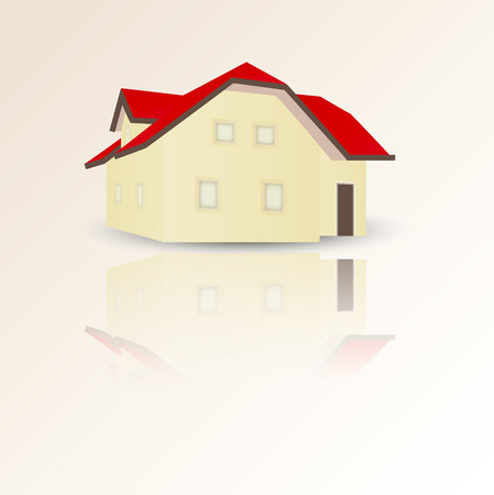 yellow family house with red roof, shadow and reflection