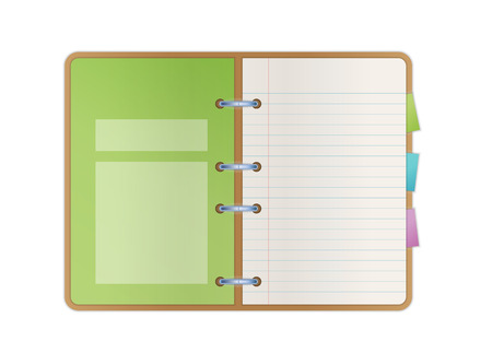 opened notebook with blank paper pages, color bookmarks and one green main list with fields for some text Illustration