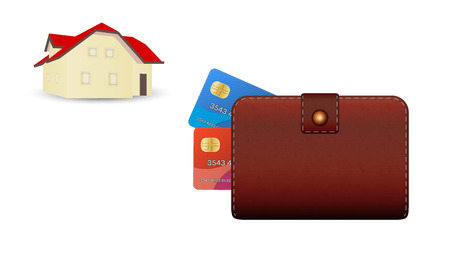 closed wallet, two credit cards and house on white background Vector