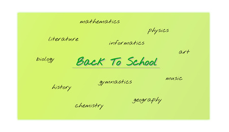 green background back to school with diffident lessons - physic, biology, informatics, etc.