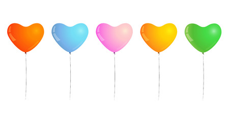 inflated: different color of inflated balloons, shape of heart, balloons for birthday party or celebration Illustration