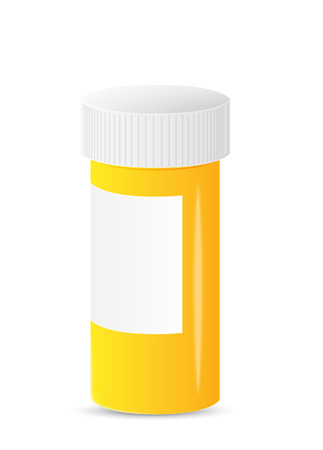 closed yellow medicine bottle with blank label Stock Vector - 23521768