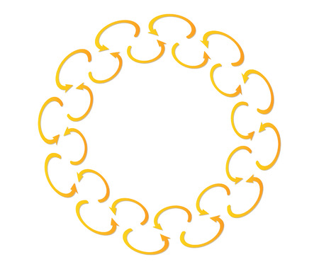 disarray: large circle created from small gold rounded arrows Illustration
