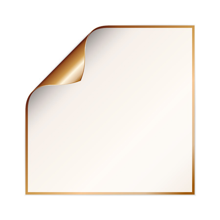 blank white paper with curled corner and copper color on the border and other side