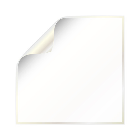 side border: blank white paper with curled corner and white gold color on the border and other side Illustration