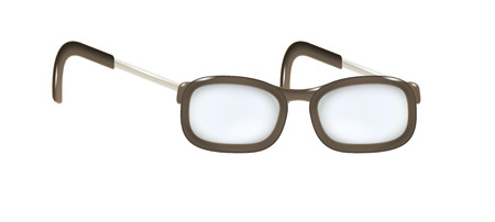farsighted: brown glasses with open temples on white background Illustration