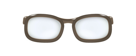 farsighted: brown glasses without temples on white background