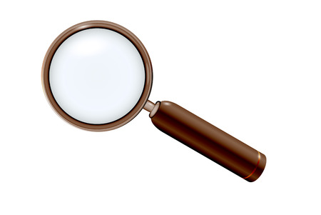 magnifying glass in elegant modern wooden style on white background Stock Vector - 23521847