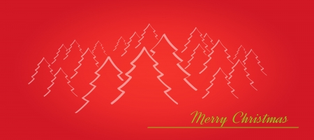 merry christmas card with trees or forest on the red background Vector