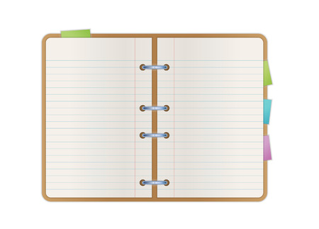 spiral notebook: opened notebook with blank paper pages and color bookmarks Illustration