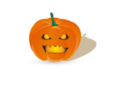 fearsome: orange halloween pumpkin with shining eyes and mouth