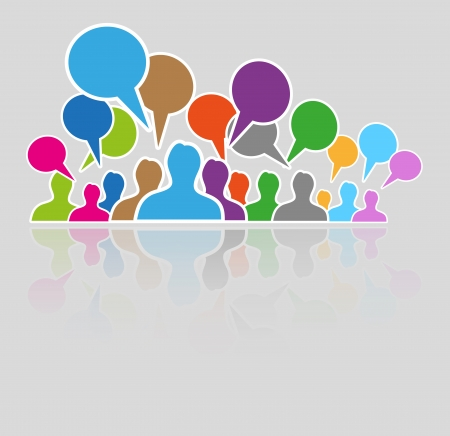 color silhouettes of many people and many speak bubbles 版權商用圖片 - 23521888
