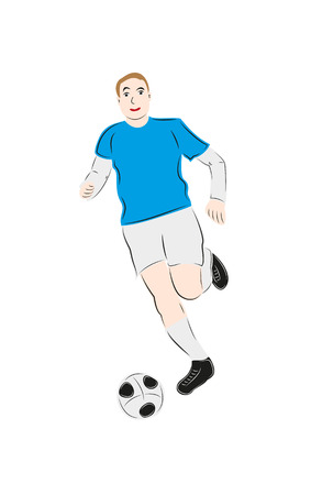blue shirt: soccer player in blue shirt with soccer ball