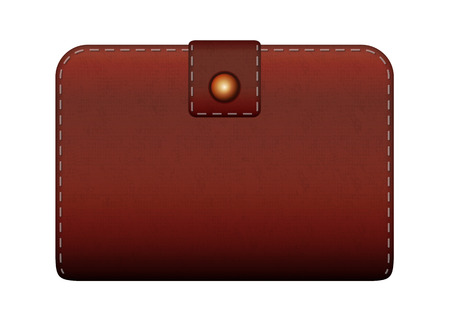 closed brown leather wallet on white background and shadow