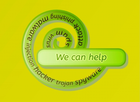spyware: green spiral label with we can help and options on white background Illustration