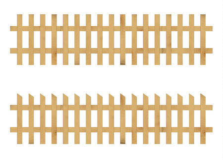 two different fences created from wooden laths Vector