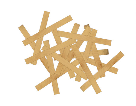laths: illustration of mess from the many long wooden laths