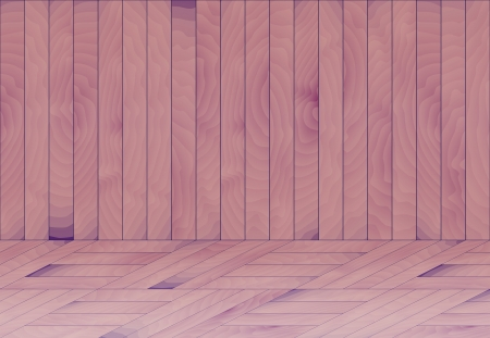 laths: wooden room with wooden wall and wooden floor created from purple - blue laths Illustration