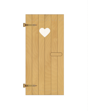 latrine: wooden door of the latrine with heart on white background