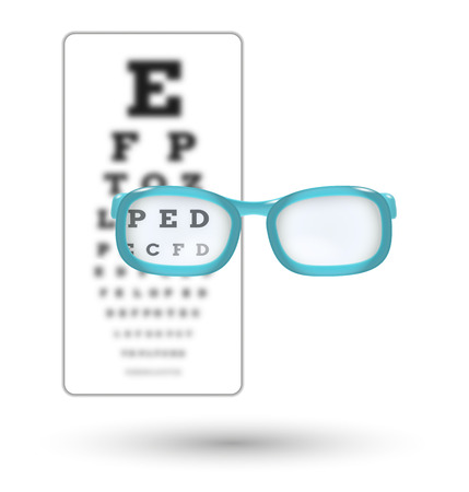 snellen: unsharp snellen chart and sharp letter with glasses on white background