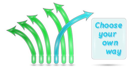 freewill: choose your own way with green and blue arrows on white background