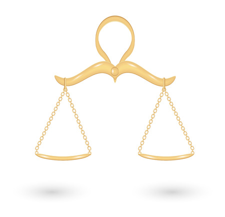 fair trial: gold balanced scale for hanging with shadow on white background Illustration