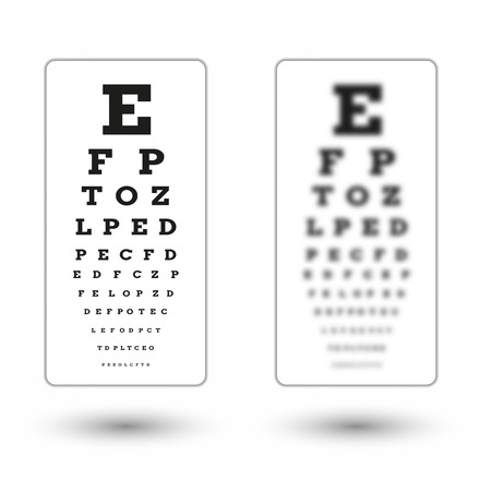 eye exam: sharp and unsharp snellen chart with shadow on white background