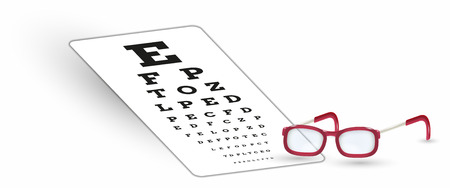 snellen: sharp snellen chart and glasses with shadow on white background
