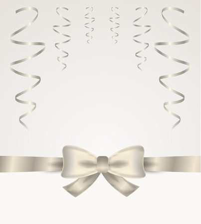 ���silver ribbon���: silver ribbon and bow with bow on silver background Illustration