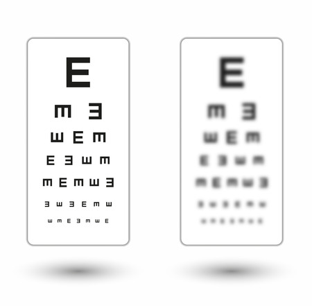 sharp and unsharp simple snellen chart  with one symbol on white background