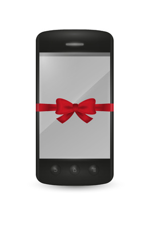 smartphone with bow as a gift on white background Vector