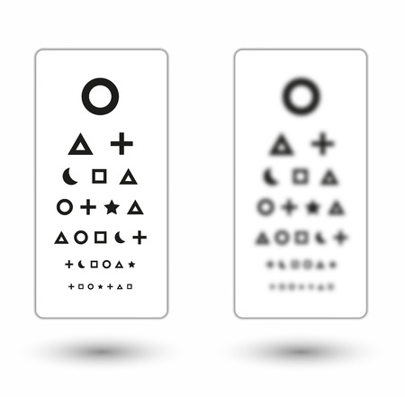 sharp and unsharp snellen chart with symbols for children on white background Vector