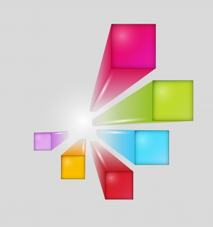 three dimensional squares with shining on white background Stock Vector - 24166674